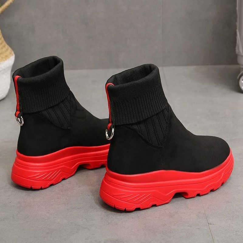 2019 ใหม่มาถึงผู้หญิงสีดำถุงเท้าข้อเท้ารองเท้าแฟชั่นฤดูใบไม้ร่วงฤดูหนาวรองเท้า Chunky แบนรองเท้ารอบ Toe ผู้หญิงความสูงรองเท้า