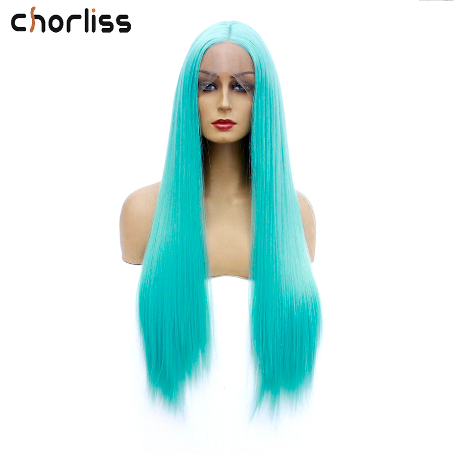 """Chorliss 24"""" Middle Part Synthetic Lace Front Wigs Blue Long Straight Synthetic Lace Wigs For Women Wig Green Cosplay Wigs Grey"""