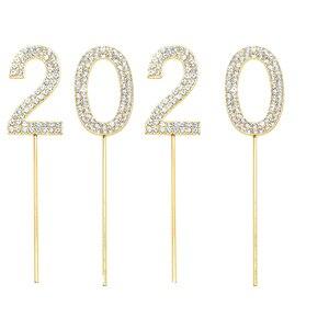 Image 4 - 1Pc Glitter Numero Cake Toppers Baby Shower Decorazione Di Compleanno di Cerimonia Nuziale del Rhinestone Della Lega di Oro Argento Digital Dolci Da Dessert Decorazione