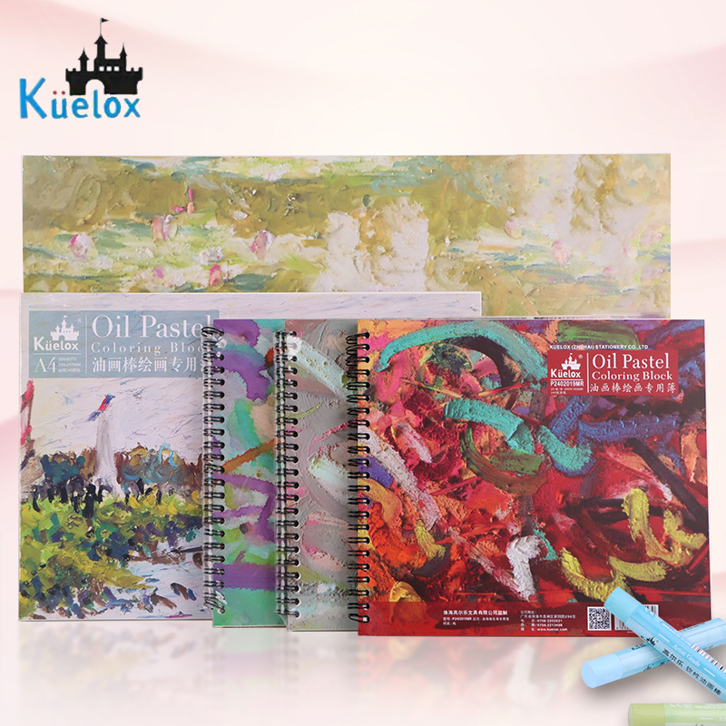 Kuelox Oil Pastel Special Book/Paper Painting 20sheet 240g/m2 Base Paper Doodle/Graffiti Book Drawing Chalk Crayon Book Supplies