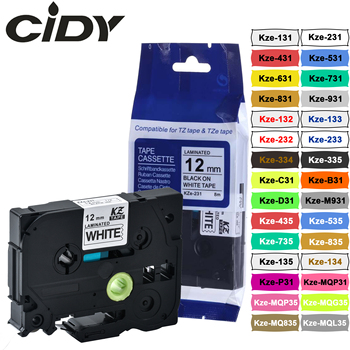 CIDY TZ231 TZ 231 TZe 231 Laminated Adhesive tz-231 tze-231 Label Tape P Touch black on white Compatible tze-131 631 1