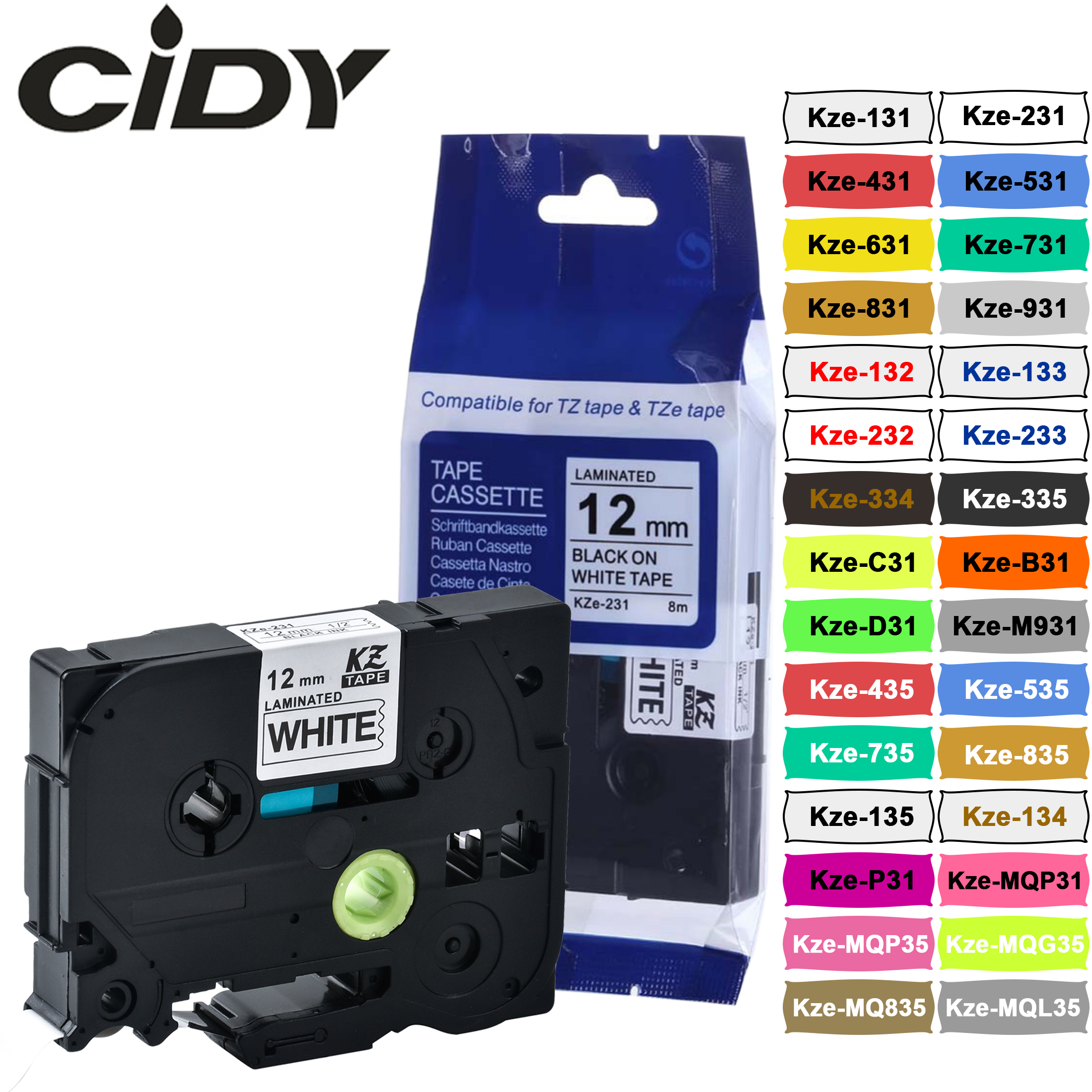 Cidy tz231 tz 231 tze 231 laminado adesivo tz-231 tze-231 etiqueta fita p toque preto no branco compatível para o irmão tze-131 631