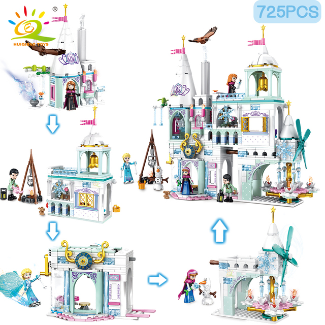 HUIQIBAO 725pcs 4 in 1 Ice Snow castle Elsa Anna Queen Princess figures Building Blocks Friend series bricks for girl Children t