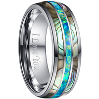 2019 8mm Acacia Green Opal Wedding Tungsten Steel Ring Inner Silver Color Engrace Carbide Boho Rings For Mens Women Jewellery