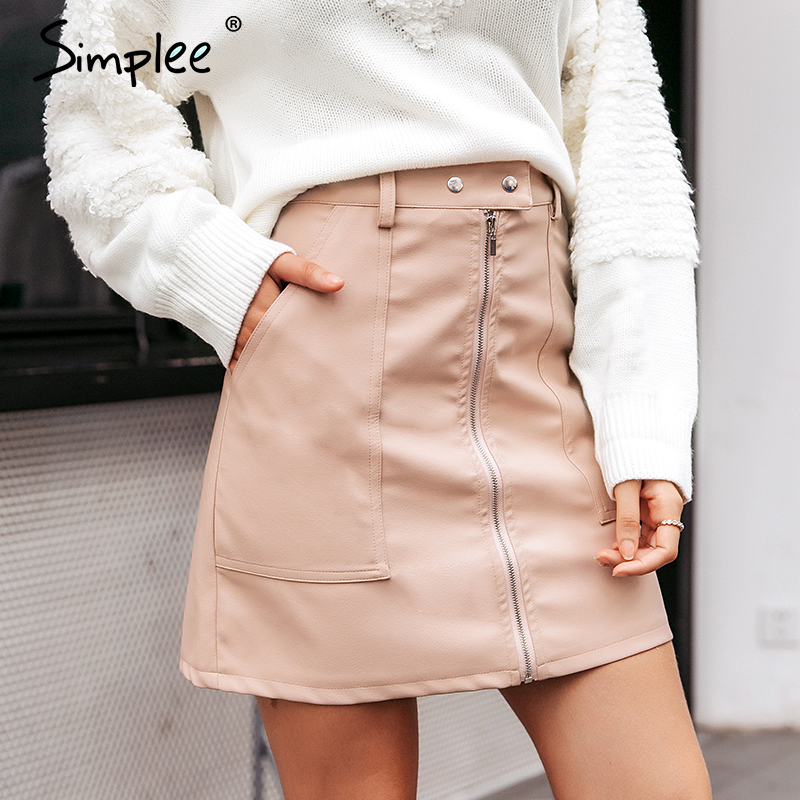 Simplee Vintage Autumn Leather Women Pencil Skirt High Waist Zipper Bodycon Mini Skirt Fashion Pocket Winter Ladies Streetwear