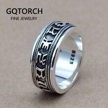 Puro 925 prata esterlina spinner seis palavras mantra anéis para homem e mulher rotatable estilo vintage om mani padme hum jóias finas