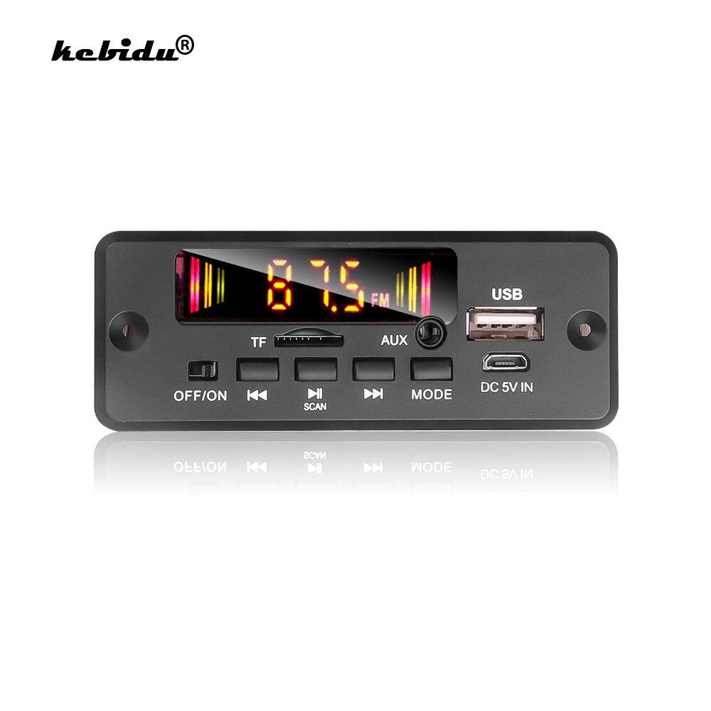 Kebidu преобразователь постоянного тока в постоянный ток 5-32V Bluetooth 5,0 Hands-free MP3 плеер декодер доска 6 Вт усилитель автомобильный FM радио модуль По...