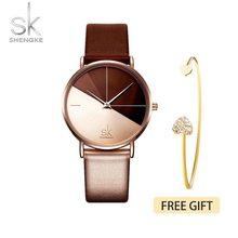 Sk relógio feminino de luxo de couro, relógio de quartzo fashion criativo para mulheres 2019