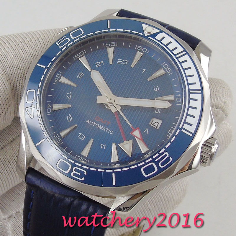 41mm bliger sterile blue dial sapphire glass date GMT ceramic bezel Automatic movement mens watch