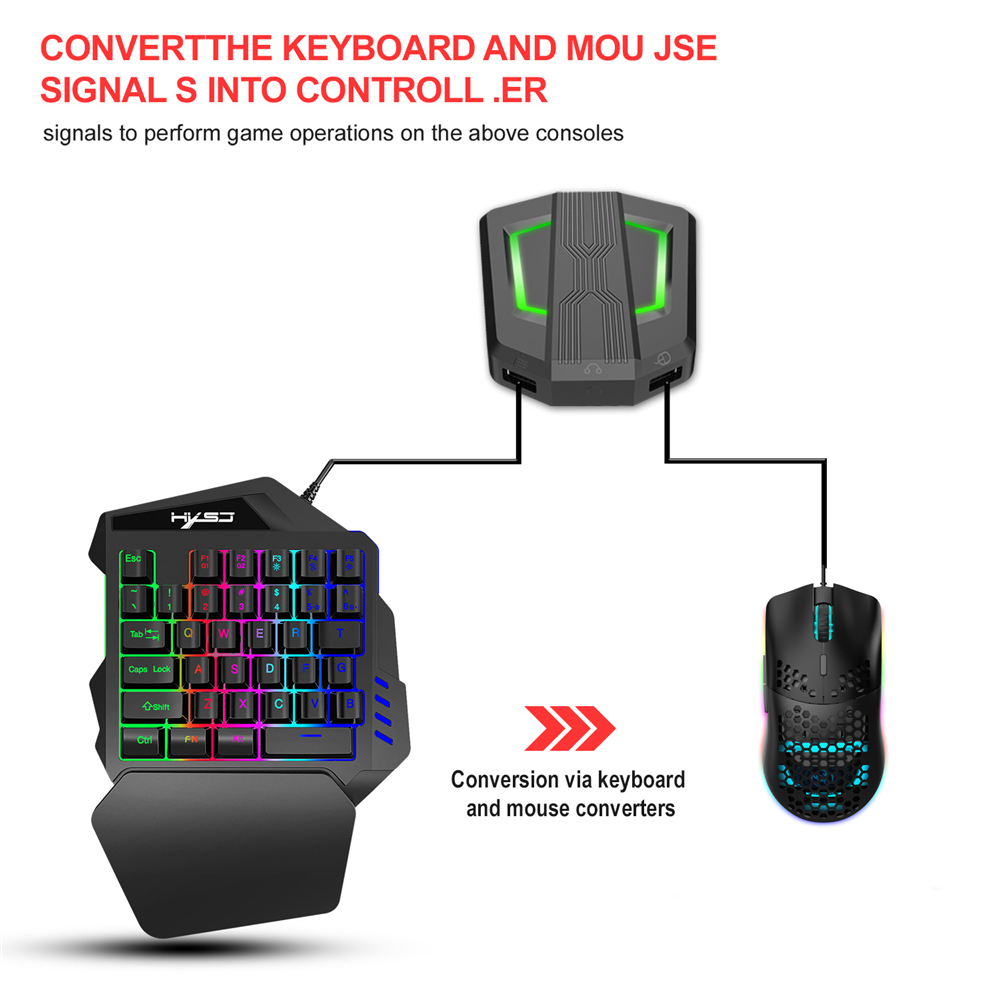 Colorful Backlight One-handed Gaming Mini Keyboard Mouse Set USB PS4 Keypad Mice with Converter Adapter for ps4 switch