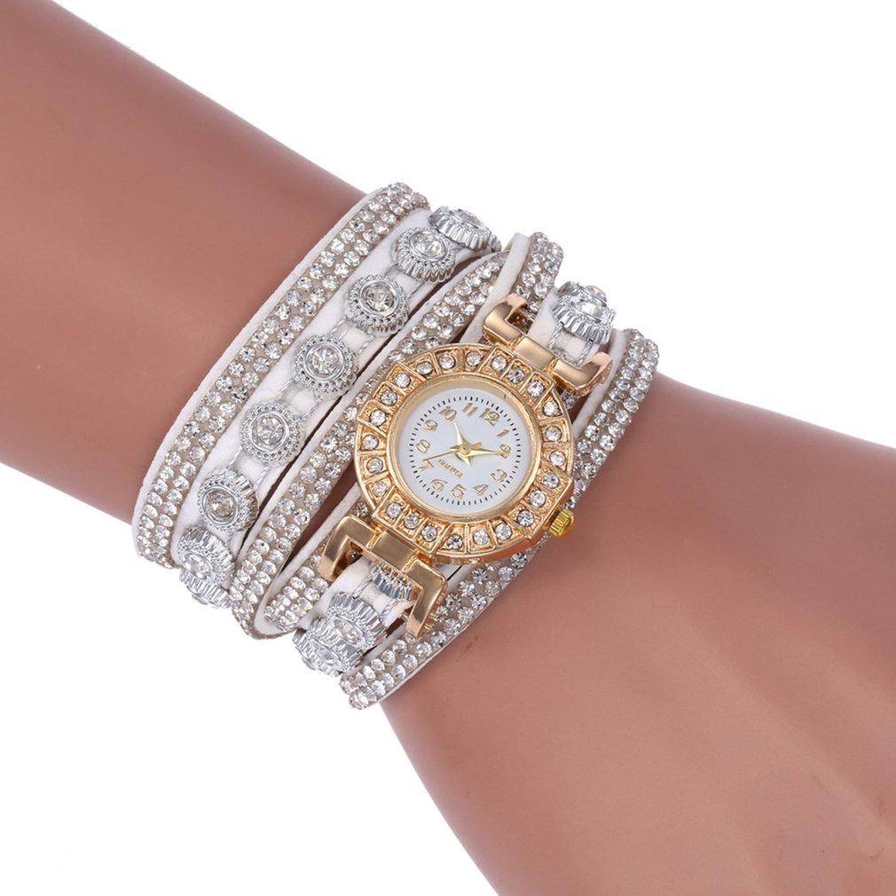 SC101 Korean Velvet Bracelet Watch Luxury Full Diamond Watch Retro Style Ladies Round Long Quartz Watch