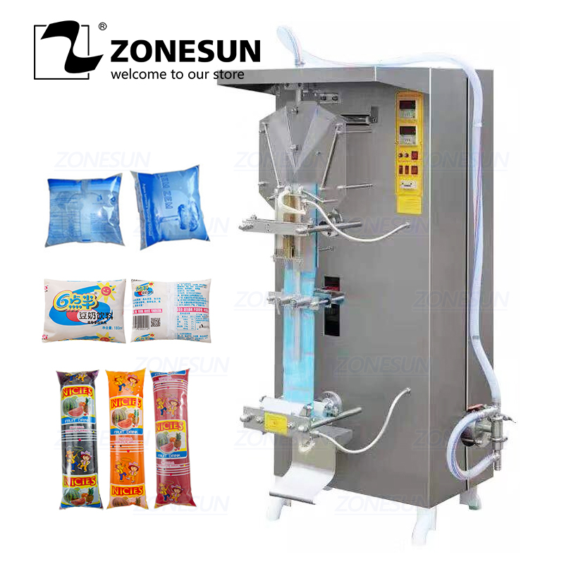 ZONESUN Automatic Liquid Packing Machine Plastic Bean Milk Sauce Bag Pure Water Sachet Milk Juice Filling Sealing Machine
