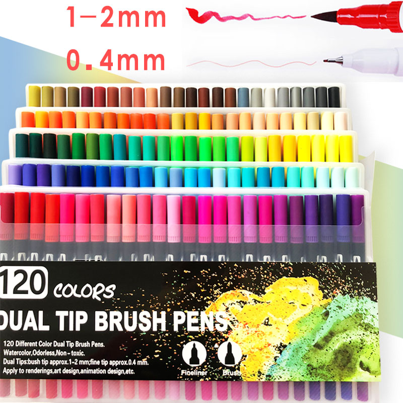 120 Dual Markers Brush Pen Bullet Journal Pen Fine Point Coloring Marker & Brush Highlighter Pen For Hand Lettering Sketching