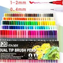 120 Dual Markers Brush Pen Bullet Journal Pen Fine Point Col