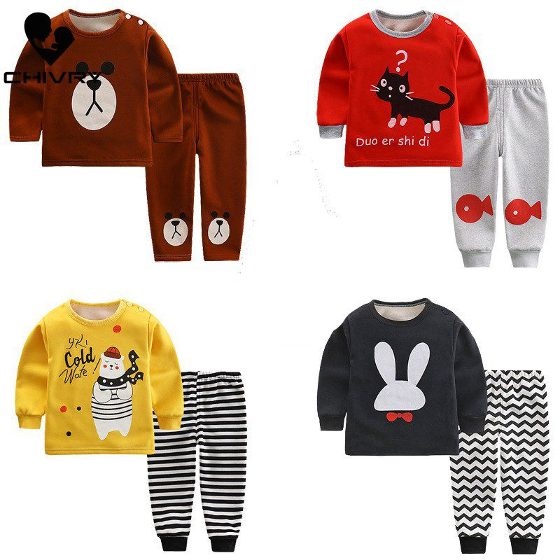 New Kids Boys   Pajama     Sets   Cartoon Print Long Sleeve O-Neck T-Shirt Tops with Pants Baby Girls Autumn Winter Sleeping Clothes