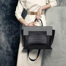 Fashion Alligator Patchwork Trapeze Women Handbags Designer Shoulder Bags Luxury Pu Leather Crossbody Bag Lady Large Totes Purse