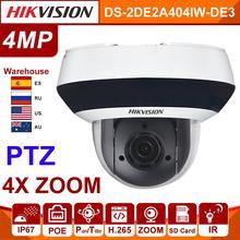 Hikvision Original PTZ IP Kamera DS 2DE2A404IW DE3 Aktualisierbar 2,8 12mm 4x Zoom mit POE H.265 CCTV Video Überwachung