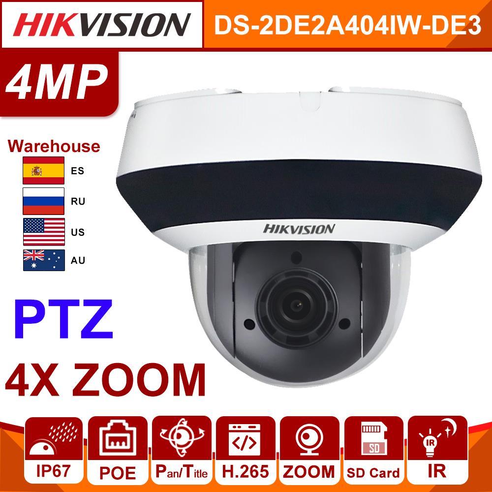 Original Hikvision IP Camera 4MP PTZ DS-2DE2A404IW-DE3 Updateable 2.8-12mm 4x Zoom POE H.265 CCTV Video Surveillance Security