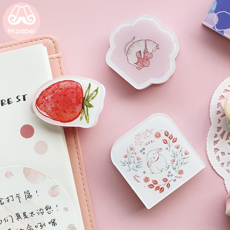 Mr Paper 8 Designs Kawaii Cartoon Kitty Rabbit Strawberry Flower Blank Plastics Bookmark Clips Office Study Supply Binder Clips