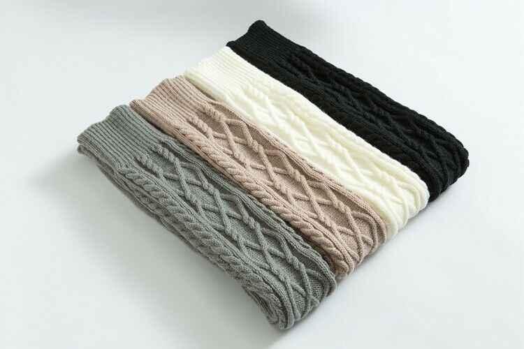 1 paar Dames Knit Soft Over Knie Lange Kous Dij Hoge Warme Legging Elastische Gebreide Effen Kousen