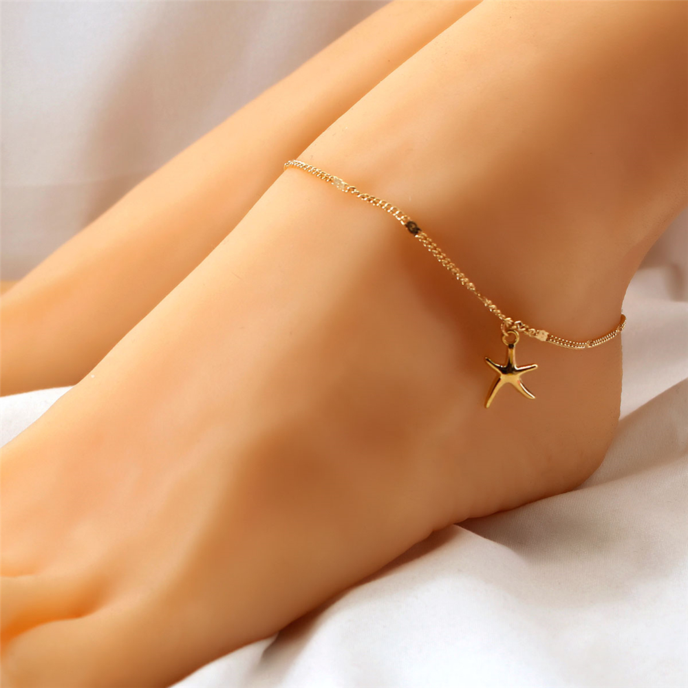 Ankle Bracelet for women Fashion Star Shell Gold color Foot Bracelet On Leg Chain Feet Necklace Jewelry 2020 simple beach girl