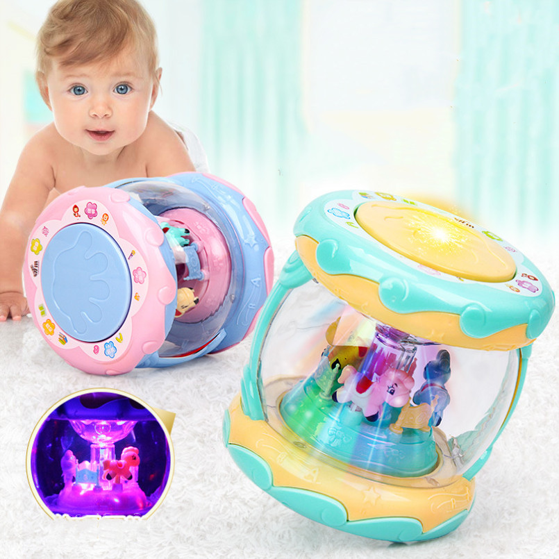 LED Music Early Educational Toys Learning Developmental Baby Rattles Funny Children Infant Toys Carousel Musical Hand Drum Beat