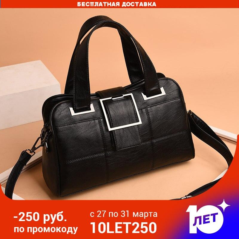 Handbags Women  PU Leather 2020  Shoulder Bags  Shopping Bag Black Zip Pocket Bag For Girl