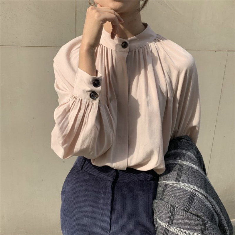 Women Spring Vintage Long Sleeve Stand Collar Blouse Single Button Elegant Short Shirt Lantern Sleeve Folds Tops