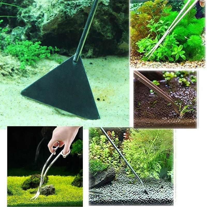 1 Pc Aquarium Planten Gereedschappen Aquascaping Pincet Schaar Spatel Tool-Rvs Aquarium Tank Aquascaping Gereedschap Voor Vis