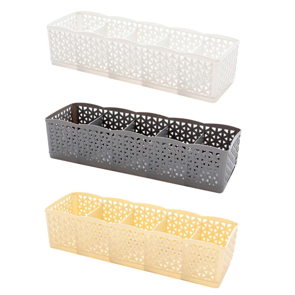 5 Cells Plastic Organizer Storage Box Tie Bra Socks Drawer Cosmetic Divider High Quality Housekeeping Container Organizers #20|Drawer Organizers| |  - title=