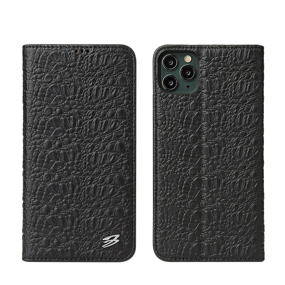 for iPhone 12 11 Pro Max Xs Max XR X 8 7 6s Plus SE Leather Top Quality Crocodile Flip Case for Samsung S20 Ultra Plus Clamshell