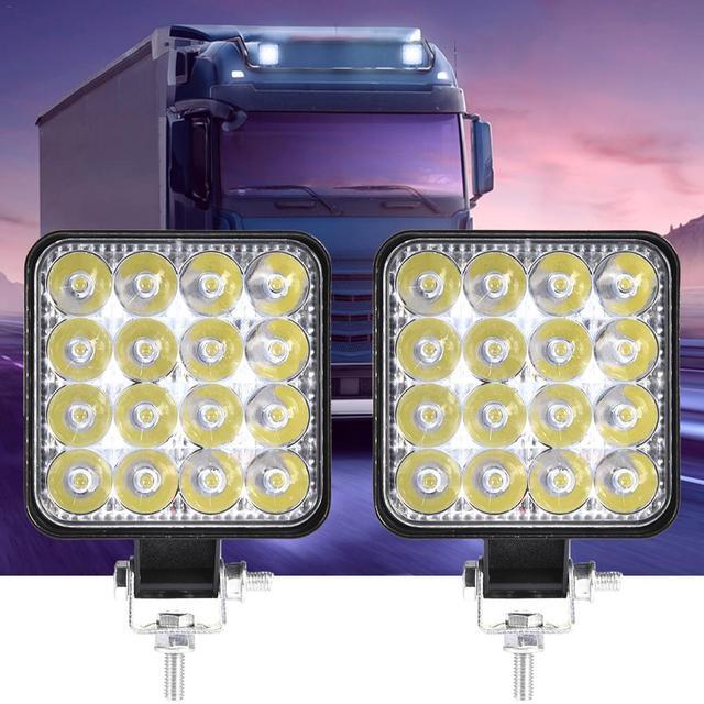 2 pièces/ensemble phare antibrouillard voiture 48w 27W 18W | Faisceau dinondation carré ampoule hors route, éclairage dextérieur pour Jeep SUV camion ATV