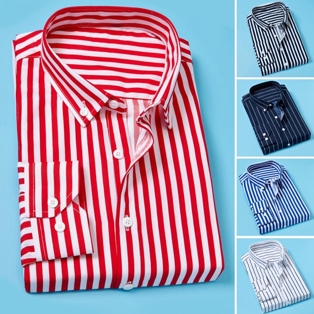 Fashion Men Shirt Vertical Stripes Men Spring Autumn Long Sleeve Business Casual Shirt Top M-5XL