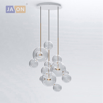 LED Postmodern Iron Glass Bubbles Silver Black Golden Lustre Chandelier Lighting.Chandelier LED Lamp.LED Light For Dinning Room