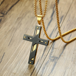 Vnox Double Layer Cross Pendant Stainless Steel Men Necklace Nailed Cross Bible Jewelry Casual Male Faith Bijoux