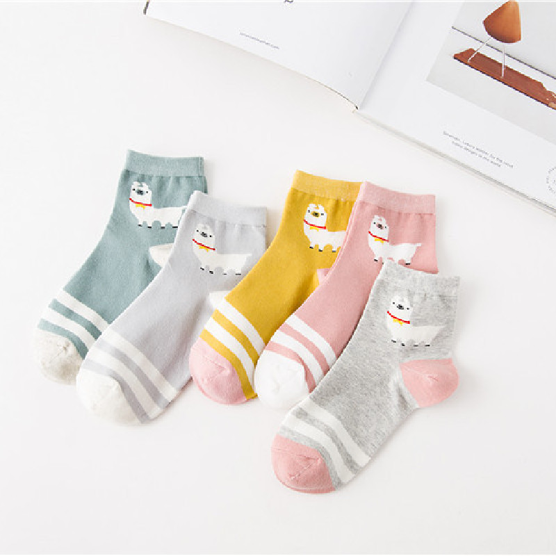 Japanese Socks College Style Striped Alpaca In Tube Female Socks Cotton Socks Wholesale