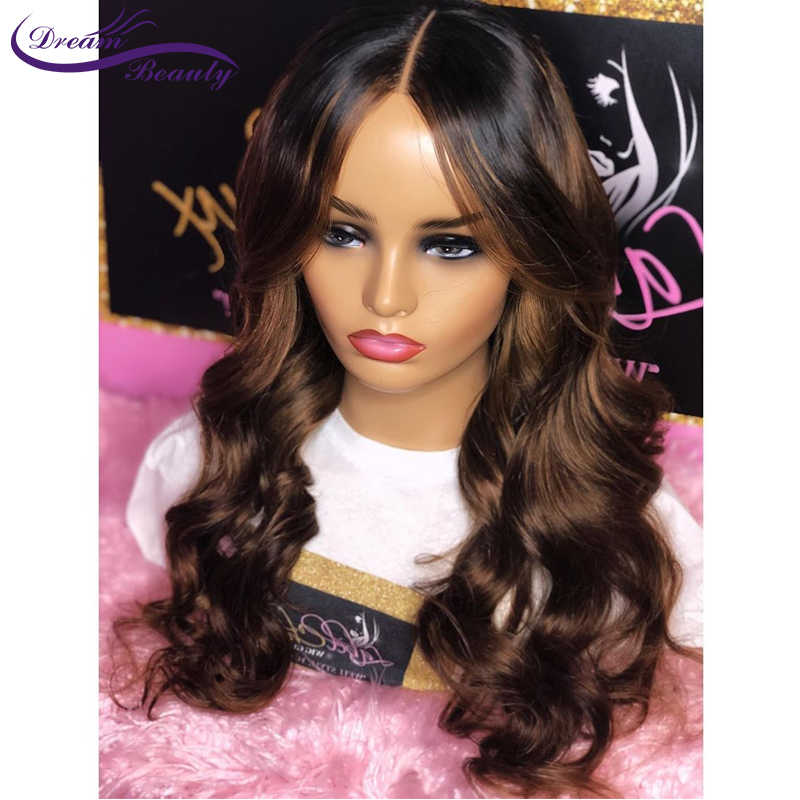 Ombre Braziliaanse Remy Haar 13X6 Lace Front Pruik Golvend Ombre Blonde Highlights Gekleurde 180% Dichtheid Pre Geplukt Droom schoonheid