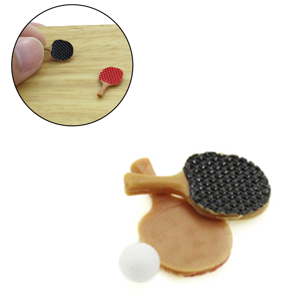 3pcs/Set 1/12 Dollhouse Miniature Mini Table Tennis Racket With Ball Simulation Furniture Ping-pong Toys For Doll House Decor