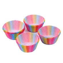 Rainbow color 100 pcs cupcake liner baking cup paper muffin cases Cake box Cup tray cake mold decorating tools
