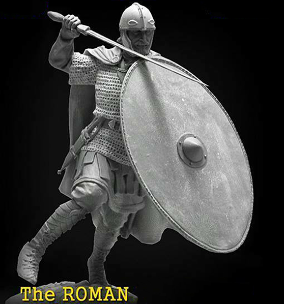 1/24 75mm   Ancient Roman Warrior Stand With Shield  Resin Figure Model Kits Miniature Gk Unassembly Unpainted