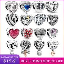 LByzHan – perles de cœur 100% en argent sterling 925, adaptées aux breloques originales de 3mm, pour la fabrication de bijoux, DIY