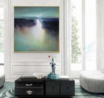 Large Landscape Painting Abstract Canvas Painting Oversize Wall Art Green Painting Cloud Painting Sea Painting Skyline Painting фото