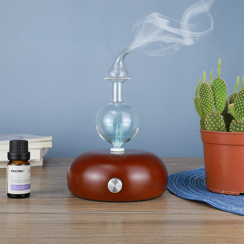 Aroma Air Purifier Wood And Glass Aromatherapy Diffuser Essential Oil Diffuser Mist Maker Fogger With 7 Colors LED Light