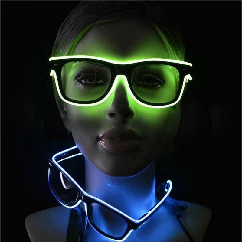 وامض نظارات EL سلك أكواب LED متوهجة حزب إمدادات الإضاءة الجدة هدية ضوء مهرجان حزب الوهج النظارات الشمسية