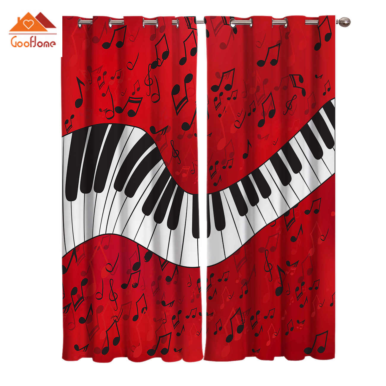 Piano Music Note Red Background Window Curtains Living Room Outdoor Fabric Drapes Curtain Home Decor