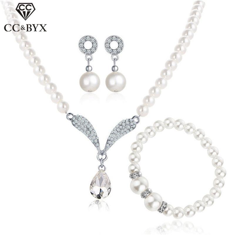 CC Jewelry Set Pearl Earring Necklace Bracelet 3pcs Women Wedding Accessories For Bridal Water Drop Shape Bijoux Fine Gifts YH44