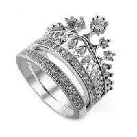 S925 Серебряное кольцо короны принцессы австрийский кристалл женское романтическое кольцо обручальное кольцо Модные юбилейные украшения
