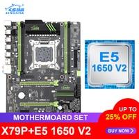 JINGSHA X79 motherboard set with Xeon E5 1650 V2 LGA 2011 support DDR3 ECC REG memory X79P ATX USB3.0 SATA3 PCI-E NVME M.2 SSD