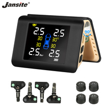 цена на Jansite TPMS Car Tire Pressure Alarm Monitoring System Solar Power Charge Wireless LED Large Display Intelligent External Sensor