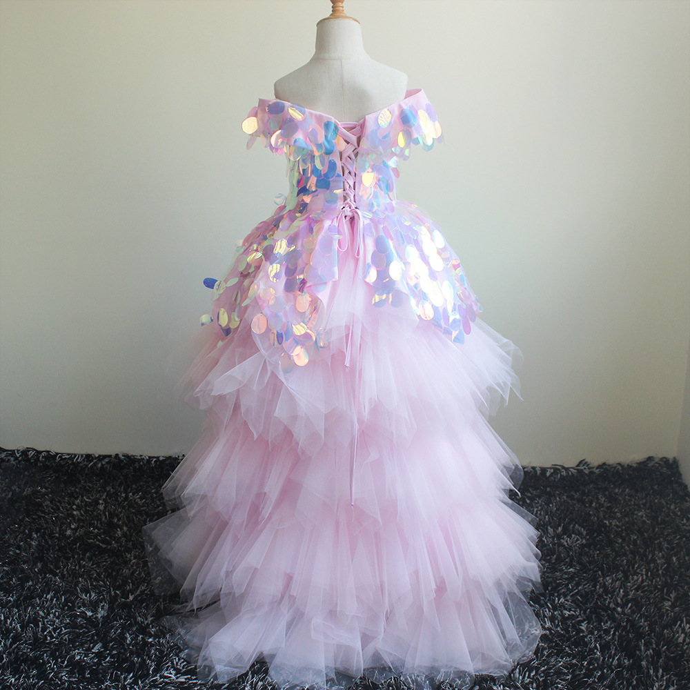 Europe And America New Style CHILDREN'S Dress Host Performance Catwalks Birthday Tailing Sequin Off-Shoulder Princess Tutu